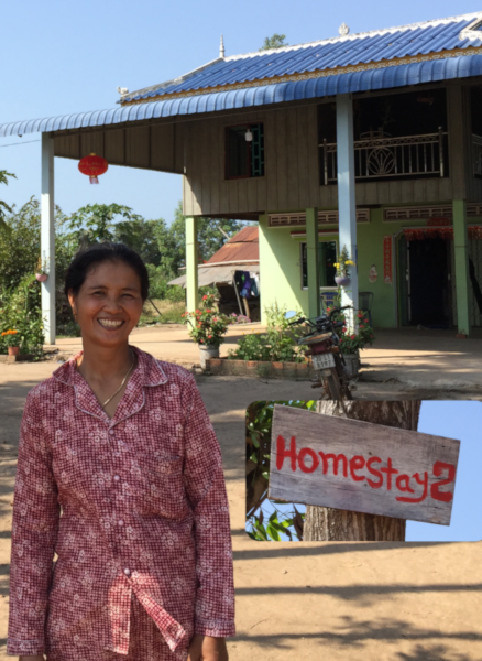 Montage of local host, home, and sign for homestay 2
